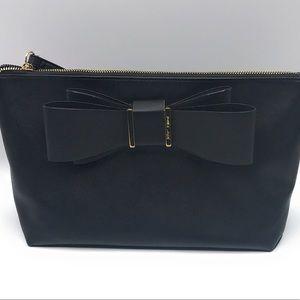 NWT Betsey Johnson  Black Cosmetic Bag Large Bow